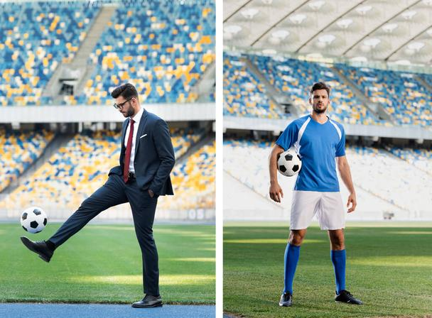 collage of young businessman in suit and football player with soccer ball at stadium - Photo, Image