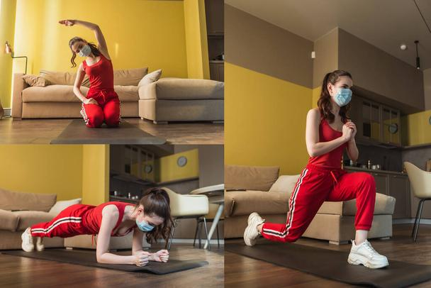 collage of sportive woman in medical masks and sportswear exercising on fitness mats at home - Photo, Image