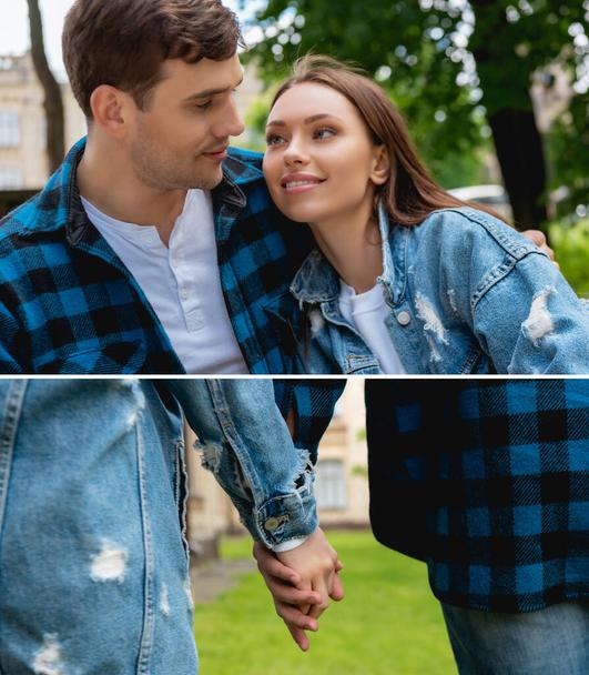 collage of happy young couple of students looking at each other and holding hands  - Photo, Image