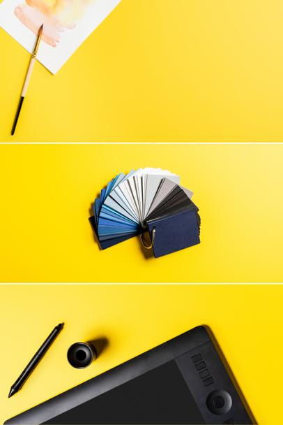 collage of drawing tablet, stylus, colorful palette and painting near paintbrush on yellow  - Photo, Image
