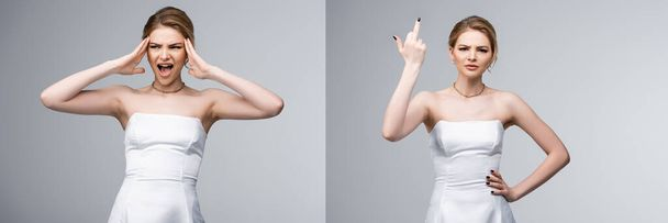collage of bride in white wedding dress showing middle finger and screaming isolated on grey  - Photo, Image