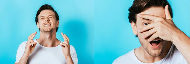 Collage of man with crossed fingers and covering face with hand on blue background - Photo, Image