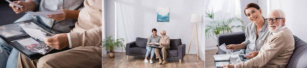 Collage eines älteren Mannes mit erwachsener Frau, die im Fotoalbum blättert, während sie auf dem Sofa sitzt und in die Kamera schaut, Banner - Foto, Bild