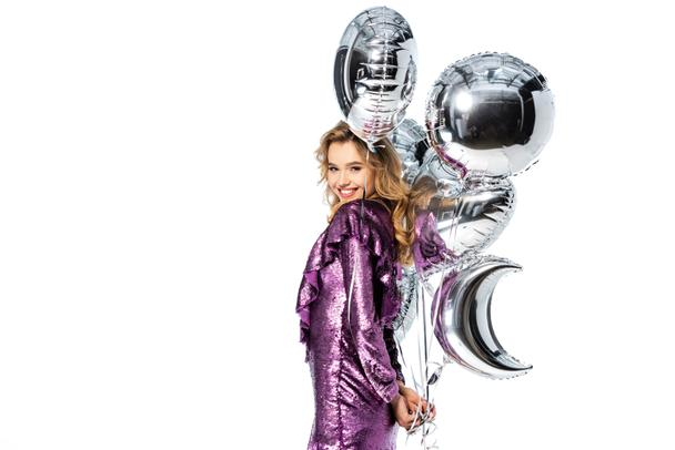 happy elegant woman in sequin dress with silver balloons isolated on white - Photo, Image