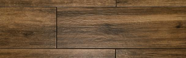 brown, wooden laminate flooring background, top view, banner - Photo, Image