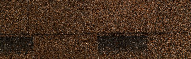 top view of brown bituminous roofing tiles background, banner - Photo, Image