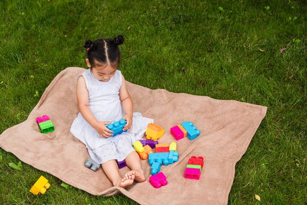 high angle view of asian toddler child in dress playing building blocks on picnic blanket in park - Photo, Image
