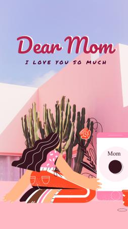 Plantilla de diseño de Mother's Day greeting by the phone Instagram Video Story