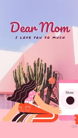 Mother's Day greeting by the phone Instagram Video Story Modelo de Design