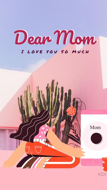 Plantilla de diseño de Mother's Day greeting by the phone Instagram Video Story