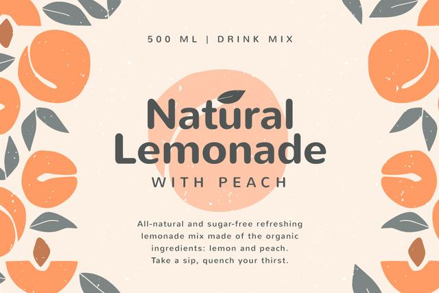 Template di design Lemonade brand ad on Peaches pattern Label