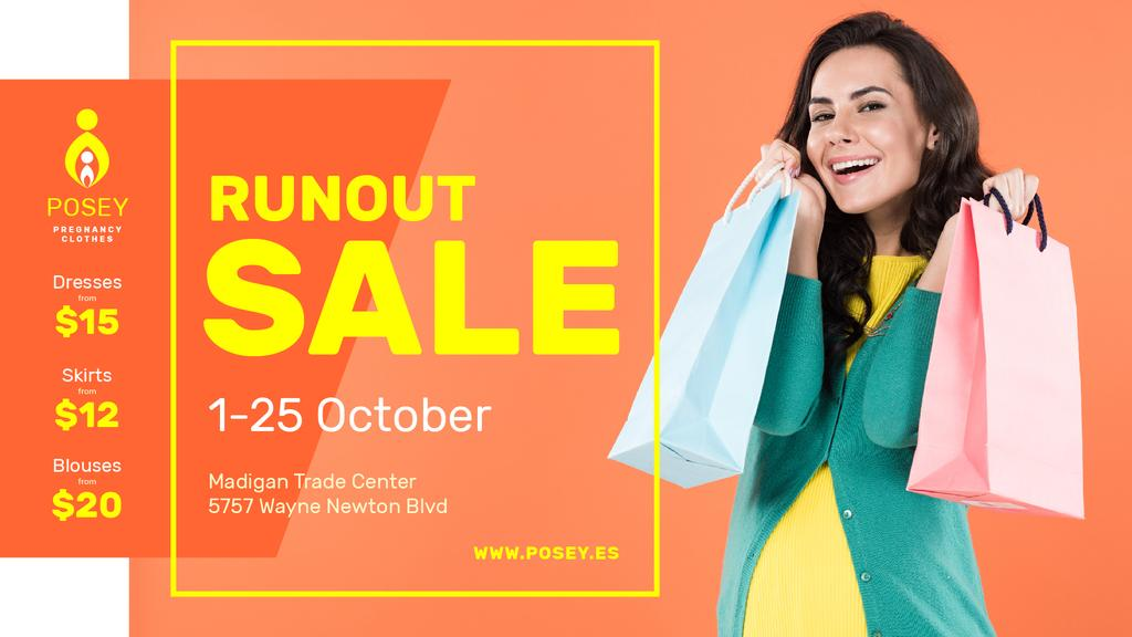 Sale announcement Woman with Shopping Bags FB event cover Modelo de Design