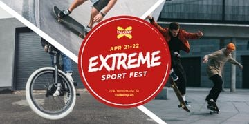 Extreme Sports with Fest People Riding in Skate Park