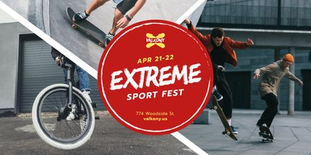Ontwerpsjabloon van Twitter van Extreme Sports with Fest People Riding in Skate Park
