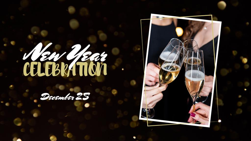 New Year Celebration with People holding Champagne FB event cover – шаблон для дизайна