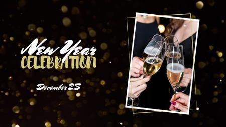 Ontwerpsjabloon van FB event cover van New Year Celebration with People holding Champagne