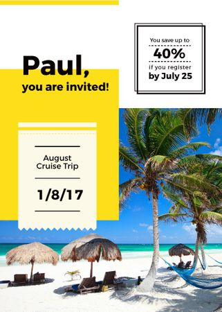 Summer Trip Offer Palm Trees at beach Invitation Modelo de Design