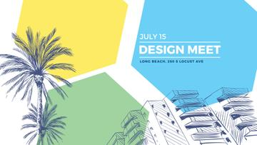 Urban Design Event Invitation with palms trees on street
