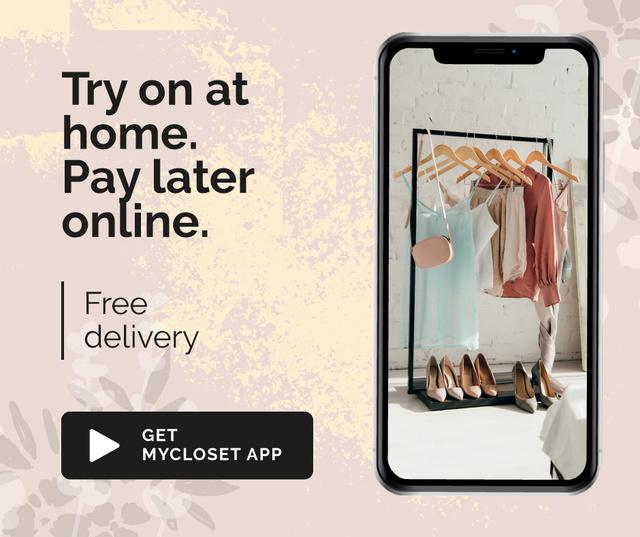Ontwerpsjabloon van Facebook van Online Shop Ad with Closet on Phonescreen