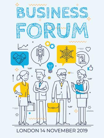 Template di design Business forum Invitation with Business People Poster US
