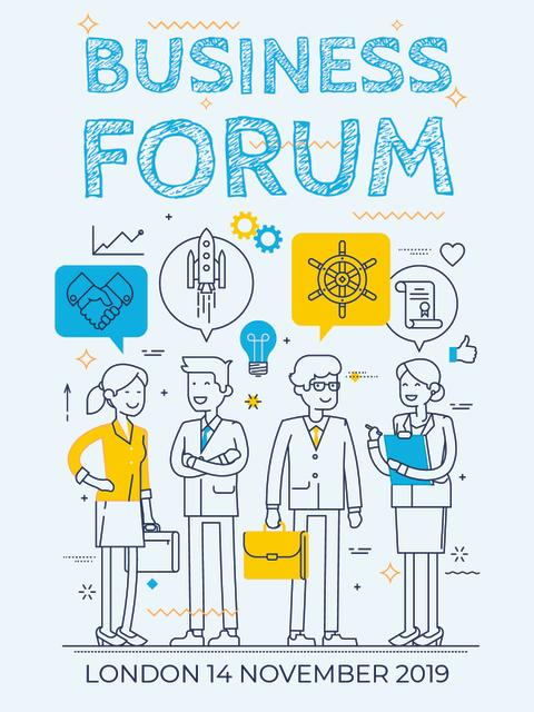 Business forum Invitation with Business People Poster US – шаблон для дизайну
