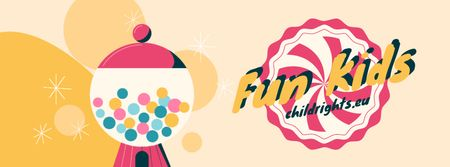 Children's Day Greeting Happy Kid with Bubblegum Facebook Video cover Design Template