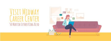 Ontwerpsjabloon van Facebook Video cover van Woman working on laptop at home