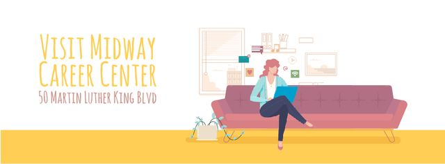 Template di design Woman working on laptop at home Facebook Video cover