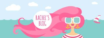 Lifestyle Blog Woman with Pink Hair by the Sea | Facebook Cover Template