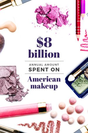 Plantilla de diseño de Makeup statistics with cosmetic products Tumblr