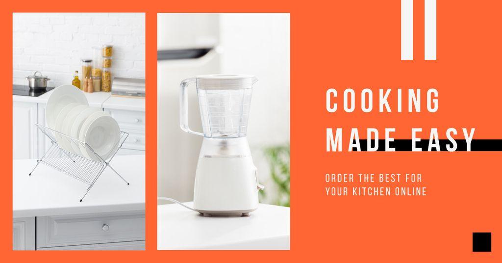 Blender Offer with Tableware in White Kitchen — ein Design erstellen