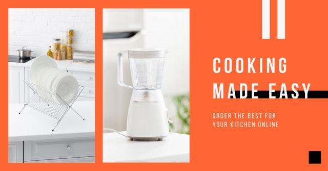 Blender Offer with Tableware in White Kitchen Facebook AD – шаблон для дизайну