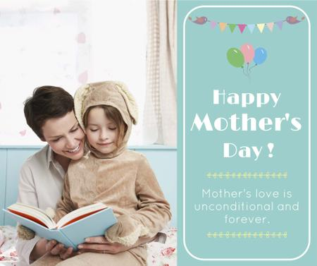 Mom and girl reading on Mother's Day Facebook Modelo de Design