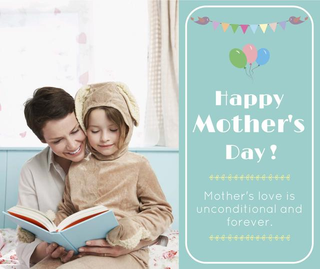 Mom and girl reading on Mother's Day Facebookデザインテンプレート