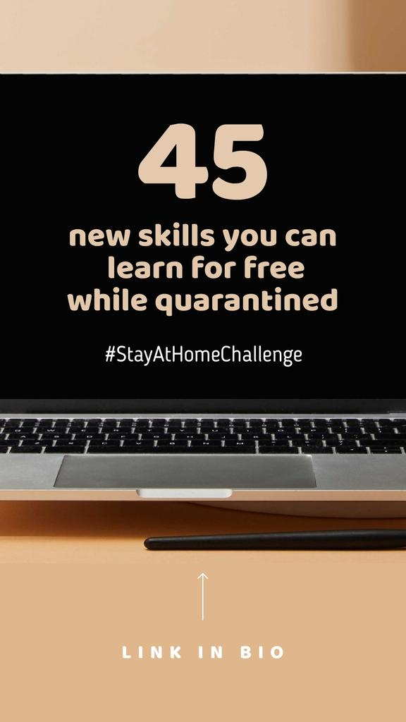Education Courses guide on screen for #StayAtHomeChallenge Instagram Story – шаблон для дизайну