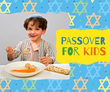 Boy having Passover dinner