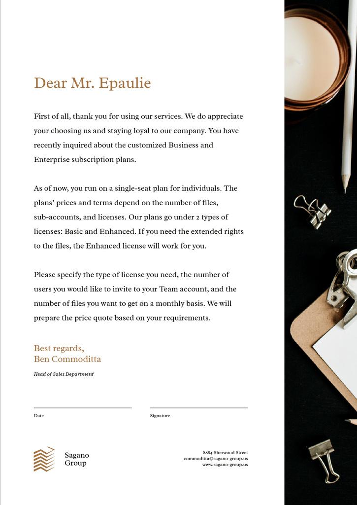 Business company official response — Crear un diseño