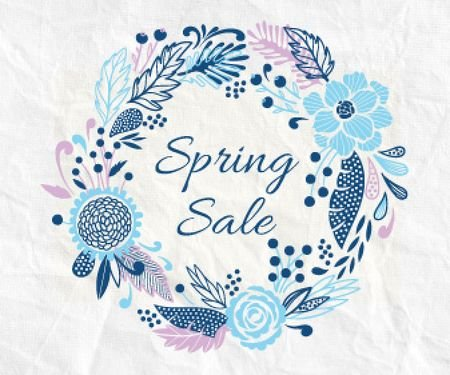 Spring Sale Flowers Wreath in Blue Large Rectangle Modelo de Design