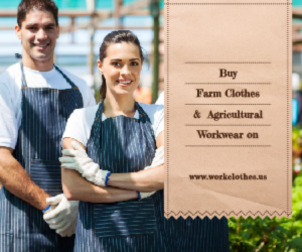 Agricultural Workwear Ad Confident Farmers in Greenhouse | Medium Rectangle Template — Создать дизайн