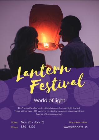 Ontwerpsjabloon van Poster van Lantern Festival with Couple with Sky Lantern
