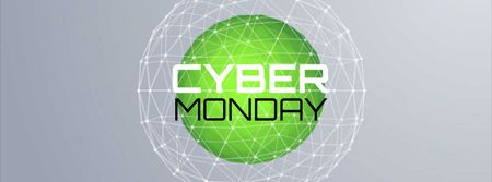 Szablon projektu Cyber Monday Sale Digital sphere with network Facebook Video cover