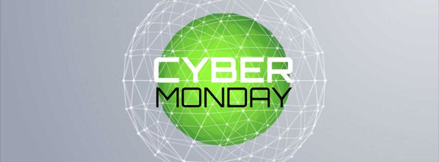 Template di design Cyber Monday Sale Digital sphere with network Facebook Video cover