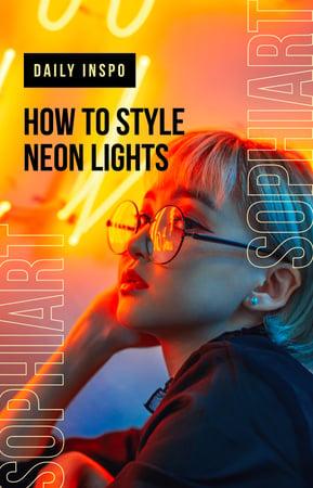 Ontwerpsjabloon van IGTV Cover van Stylish woman in neon light