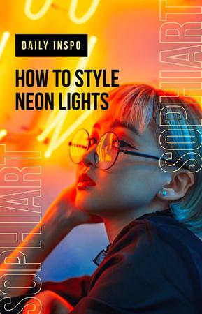 Plantilla de diseño de Stylish woman in neon light IGTV Cover