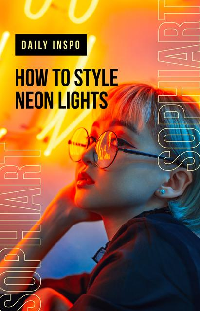 Ontwerpsjabloon van IGTV Cover van Stylish woman in neon light