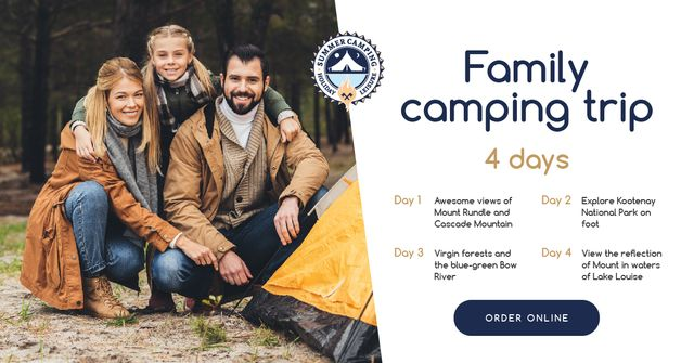 Camping Trip Offer Family by Tent in Mountains Facebook AD Modelo de Design