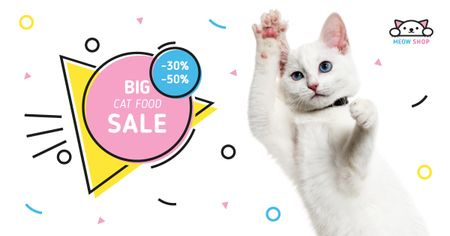 Pet Shop Sale with Cute White Cat Facebook AD Modelo de Design