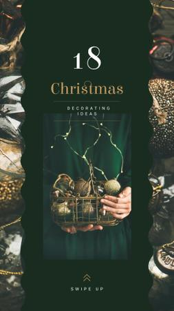 Hands holding Christmas baubles Instagram Storyデザインテンプレート