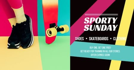 Template di design Sporty Sunday sale Ad with Skateboard Facebook AD