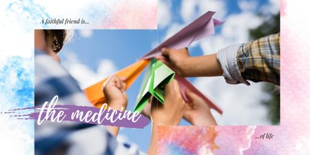 People holding paper planes Image Design Template